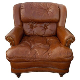 Tufted Brown Leather Chesterfield Lounge Chair