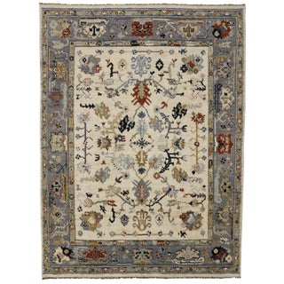 Transitional Blue and Cream Oushak Rug, 9'3x12'5