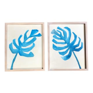 """Philodendron"" in Blue & White Painting - A Pair"