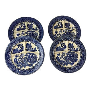 Flow Blue & White Chinoiserie Plates - Set of 4