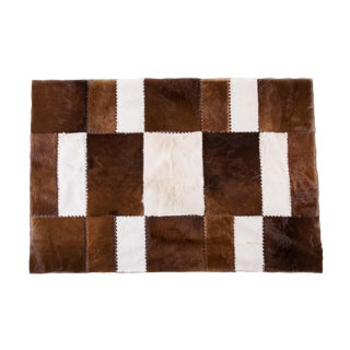 "Handmade Patchwork Cowhide Brown & White Rug - 6'7""x4'7"""