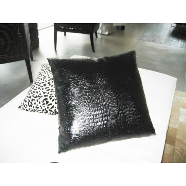 Decorative Faux Leather Pillows : Black Croc Faux Leather Decorative Pillow Chairish