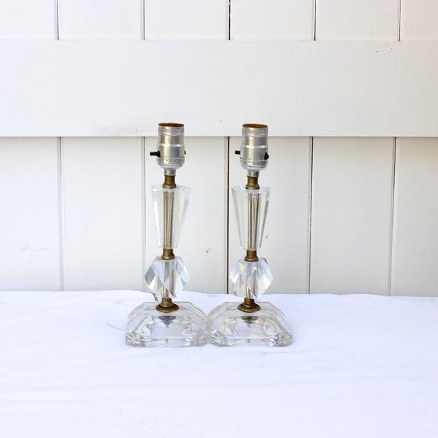 Image of Vintage Crystal Table Lamps - A Pair