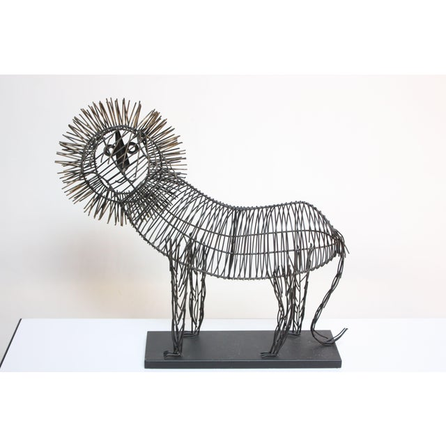 Brutalist Style Lion Wire Scupture - Image 7 of 11
