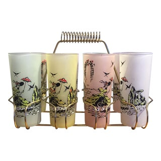 Frosted Glass Painted Ladies Drink Caddy - Set of 8