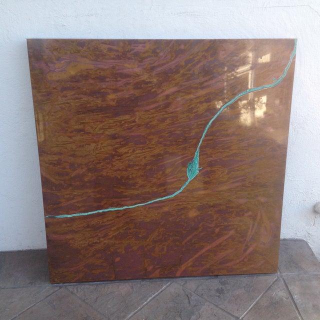 Square Contemporary Copper Art Piece. - Image 2 of 6