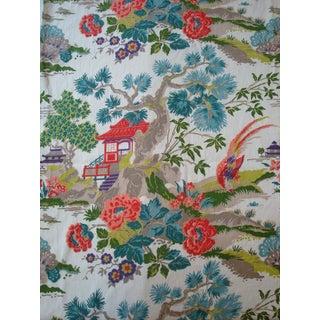 Chinoiserie Pagoda Cotton Fabric - 4.8 Yards