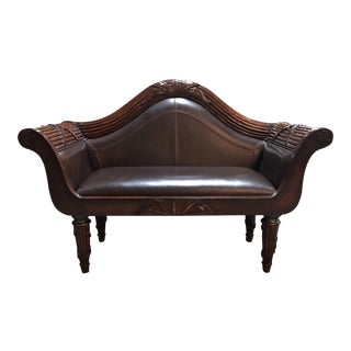 Leather and Mahogany Regency Settee