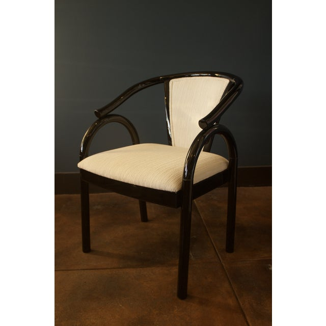 Image of Chinoiserie Black Lacquer Armchair