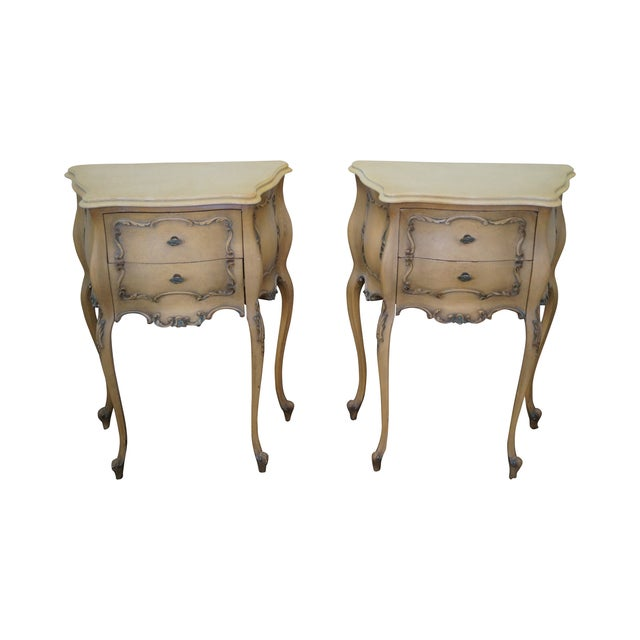 Image of Vintage 1940s Painted Bombe Nightstands - A Pair