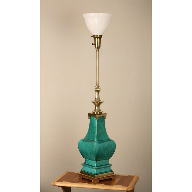 Stiffel Porcelain and Brass Lamps - A Pair - Image 3 of 8