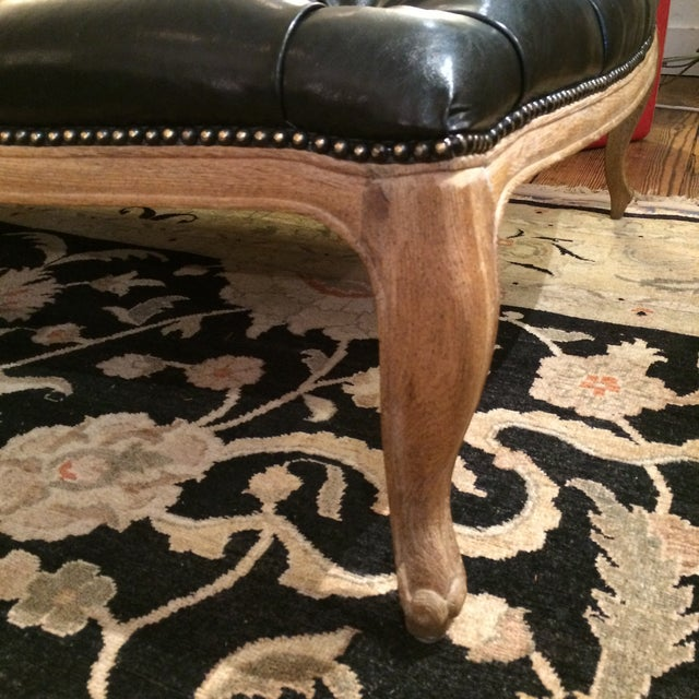 Button Tufted Black Faux Leather Ottoman - Image 4 of 5
