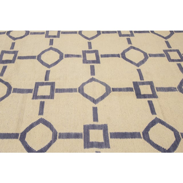 "Apadana Blue & Ivory Geometric Kilim - 9' X 12'2"" - Image 6 of 7"