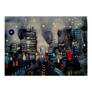"""City Lights 3"" Original Watercolor Painting"