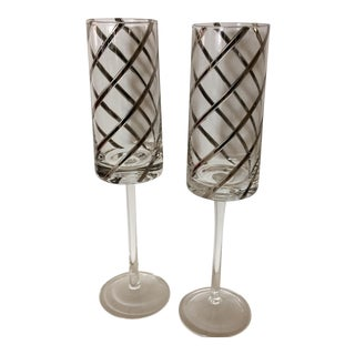 Vintage Crystal Platinum Swirl Toasting Glasses - A Pair