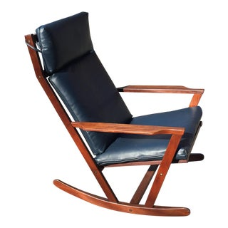 Poul Volther for Frem Rojle Danish Teak & Blue Leather Rocker