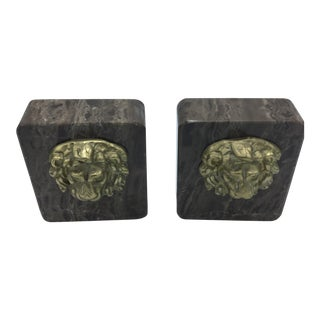 Brown Marble Lion Head Bookends - A Pair
