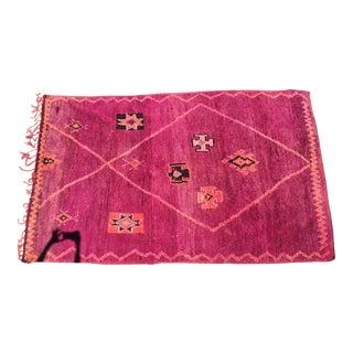 "Vintage Dark Pink Azilul Moroccan Rug - 6'3"" x 10"""