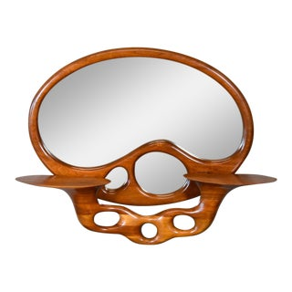 Sculptural Stack Laminated Walnut Mirror by Craig Lauterbach