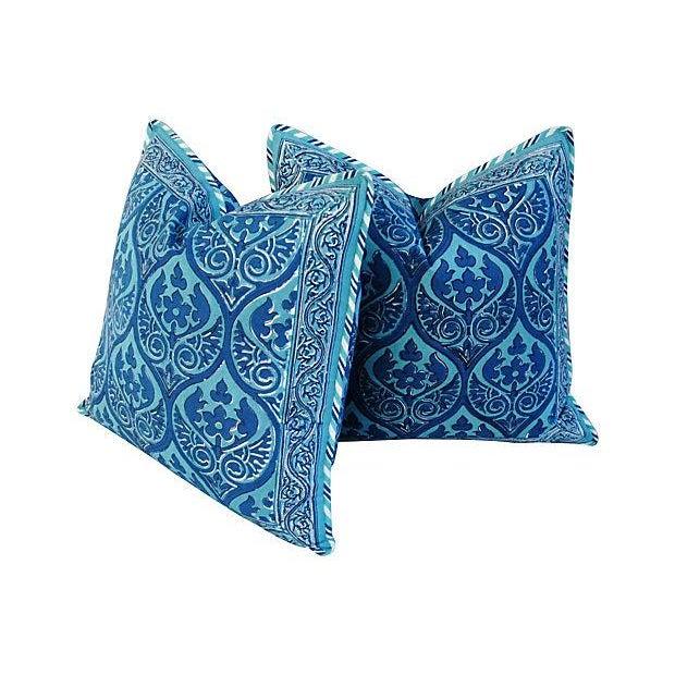 Custom Blue Hand-Blocked & Printed Pillows - Pair - Image 2 of 6
