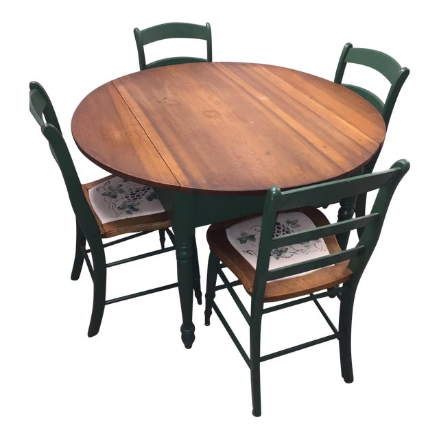 Image of Antique Kitchen Table With Hand Painted Chairs - Set of 5