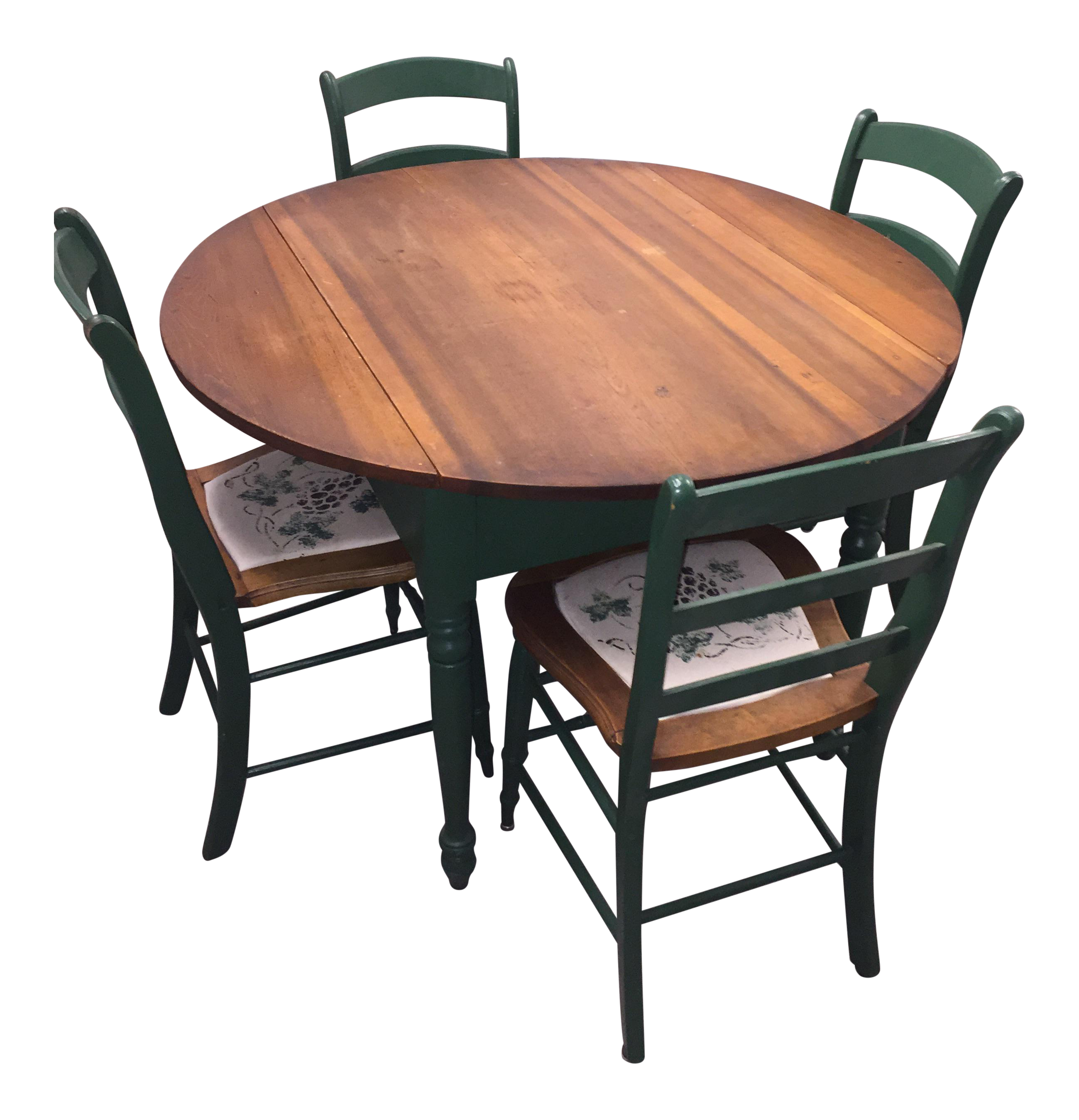 Antique Kitchen Table With Hand Painted Chairs   Set Of 5 Part 92