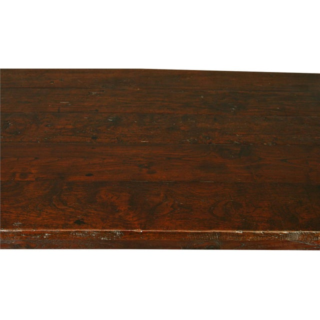 Solid Oak with Teak Country Style Dining Table - Image 5 of 8