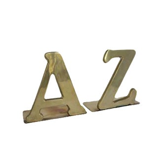 Vintage Brass A & Z Alphabet Bookends - A Pair