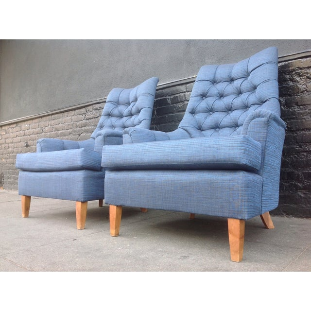 Mid-Century Tufted Blue Lounge Chairs - A Pair - Image 4 of 7