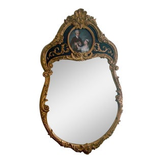 French Style Gold Gilt Wood Hand Painted Wall Mirror