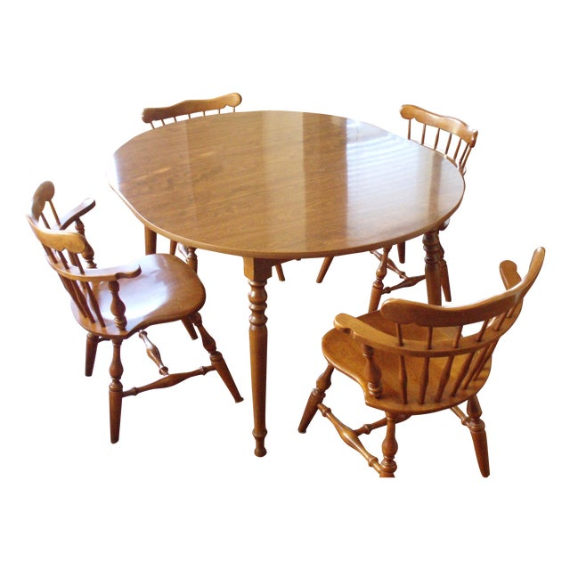 Ethan Allen Solid Wood Dining Table Set - Image 1 of 5