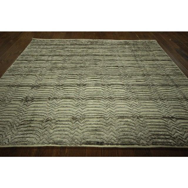 "Wool & Silk Pile Gray Moroccan Rug - 7'4"" x 8'2"" - Image 3 of 10"