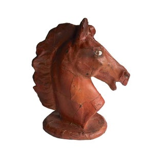 Vintage Leather Horse Head Statue