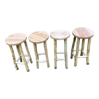 Rustic Hand Made Stools - Set of 4