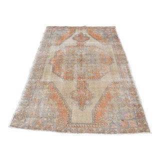 Faded Antique Oushak Rug - 4′4″ × 6′8″