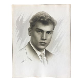 1940s Charcoal Portrait of Handsome Young Man