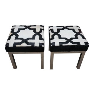 Moroccan Style Cowhide Ottomans - a Pair