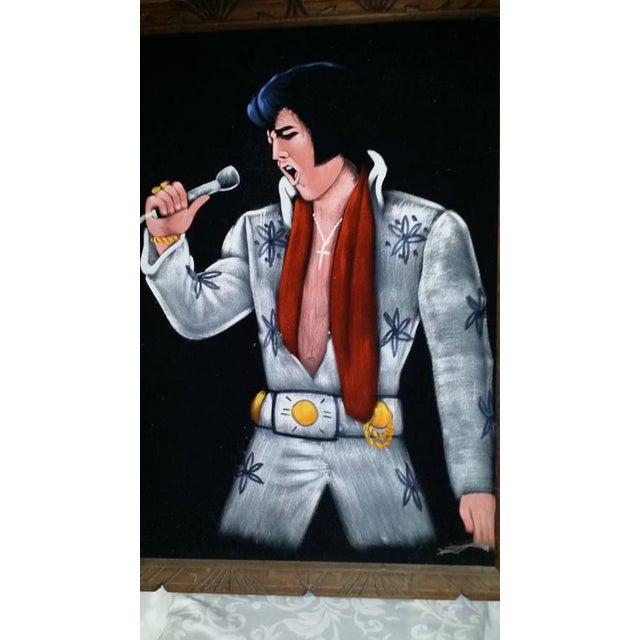 1995 Vintage Large Framed Velvet Elvis Painting - Image 3 of 4