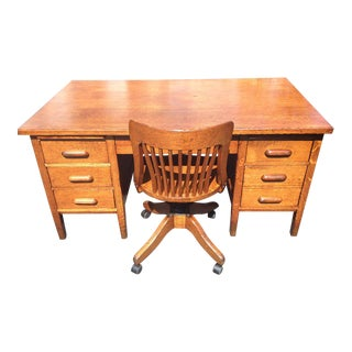 Antique Golden Oak Teachers Desk & Banker's Chair