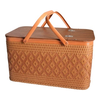Vintage Wood & Wicker Thatch Picnic Basket