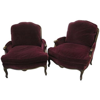French Velvet Armchairs - A Pair