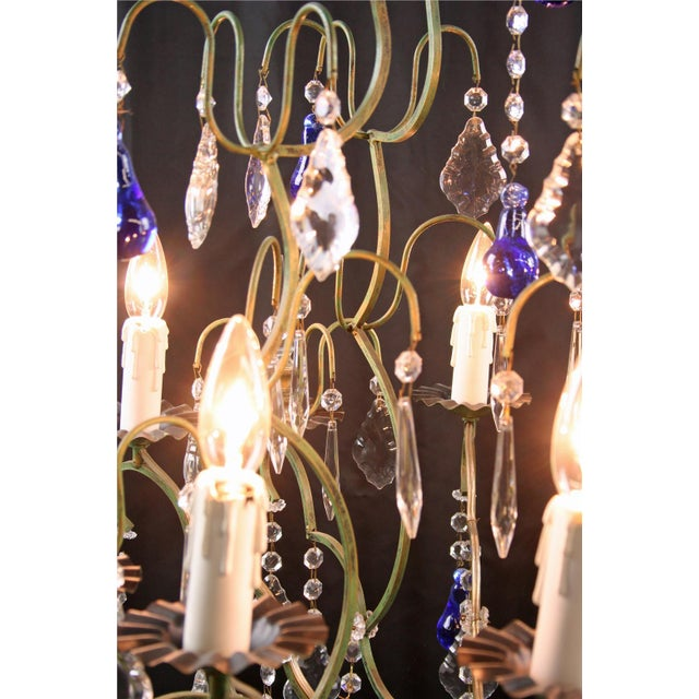 Large Maria Theresa Style 12-Arm Chandelier Blue - Image 8 of 8