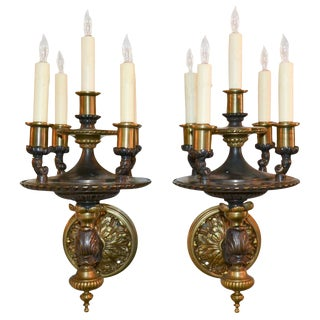 Pair of French Heavy Bronze One Arm Sconces