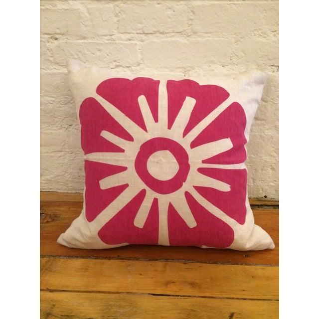 Hand-Printed Fuchsia Flower Pillow - Image 2 of 10