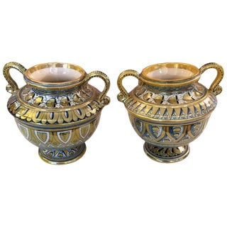 Small Italian Lusterware Compotes Urns - A Pair