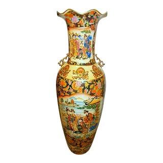Oriental Double Theme Geisha Women Peacock Birds & Flower Floor Vase