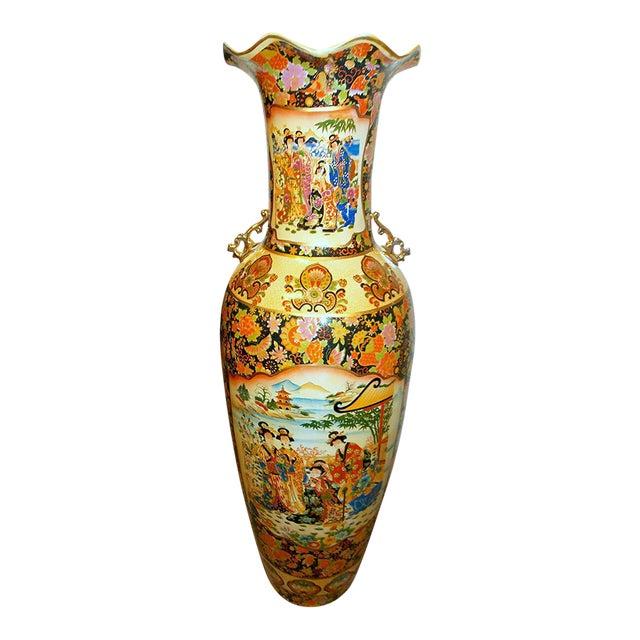 Image of Oriental Double Theme Geisha Women Peacock Birds & Flower Floor Vase