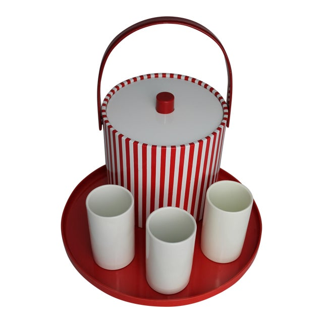 Mid-Century Red & White Ice Bucket, Tumblers and Tray Beverage Set - Image 1 of 11