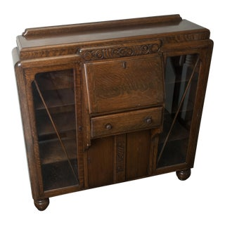Antique Drop-Front, Side-By-Side Secretary Desk - Entryway Accent Cabinet