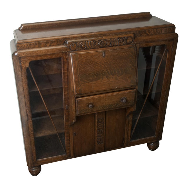 Foyer Accent Cabinets : Antique drop front side by secretary desk entryway